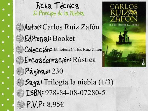 Letras, Libros y Más: Reseña El príncipe de la niebla de Carlos Ruiz Zafón