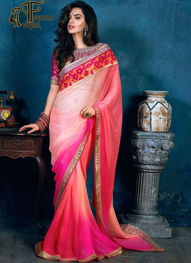 plain pink chiffon saree with golden border.Add grace and charm towards the look in this beautiful Salmon & Deep Pink Chiffon Saree. The ethnic Stones