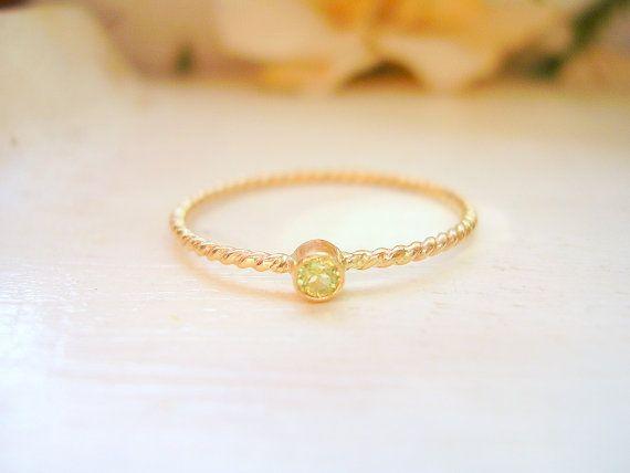 14K Gold Dainty Birthstone Twisted Rope Ring by NatsukoJewelry, $105.00-Sadies birthstone