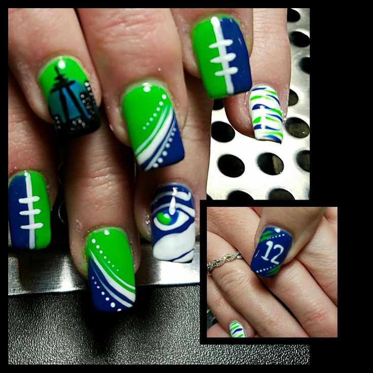 Seattle Seahawks nails I handpainted with gel polish on acrylic nails!!!