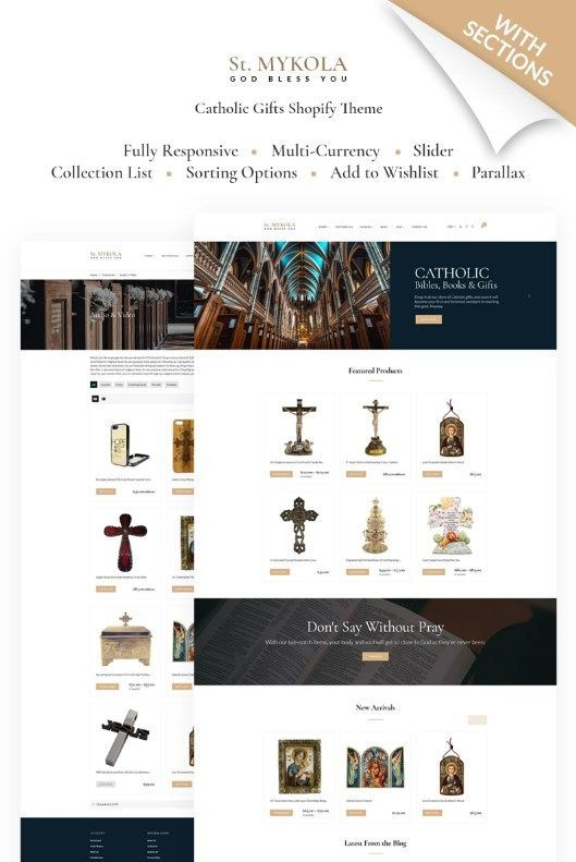 If you are looking for a premium religious theme, look no further. With its distinctive design, this Shopify theme is perfectly suitable for the religious online stores. It has a responsive interface, an excellent product filter, and a convenient menu.  #religious #church #onlinestore #shopify #responsive  https://www.templatemonster.com/shopify-themes/st-mykola-catholic-store-shopify-theme-67677.html