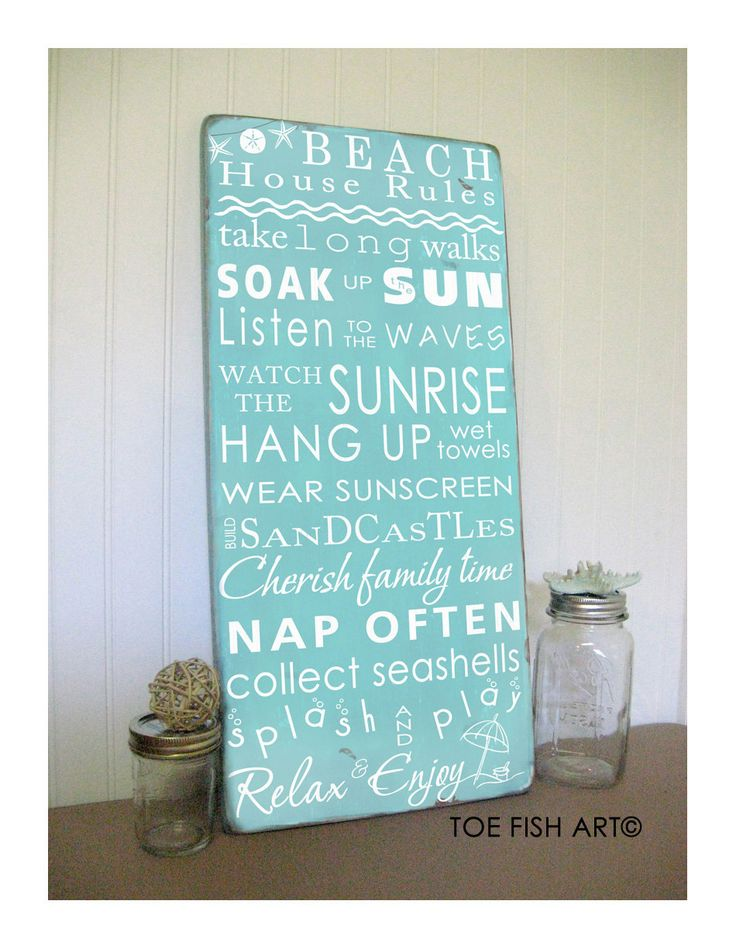 Beach Rules with Seashore Bunting -Vintage Style Typography Word Art Sign. $95.00, via Etsy.