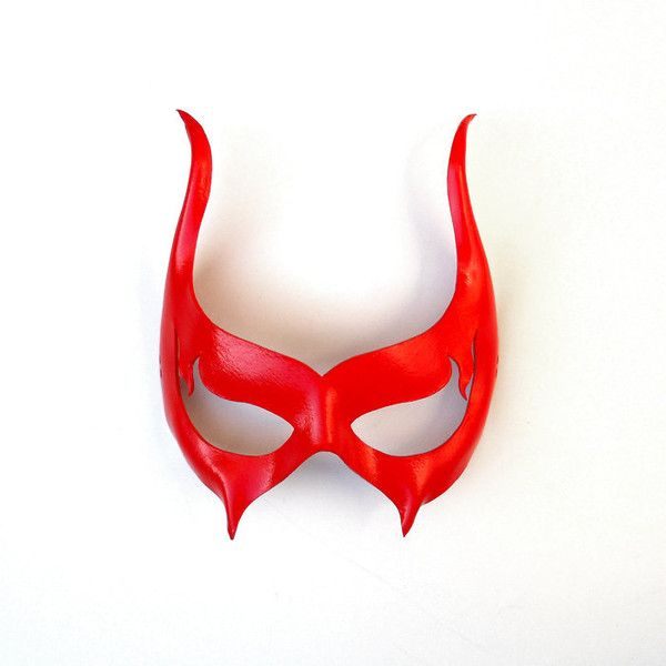 Scarlet Red Devil Leather Mask Masquerade Sexy Halloween Vampire... ($39) ❤ liked on Polyvore featuring costumes, masquerade costumes, sexy role play costumes, vampire costume, devil horns costume and cosplay costumes