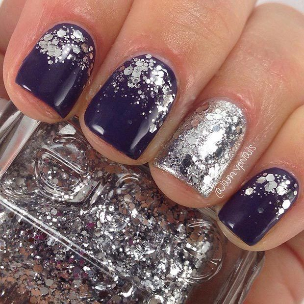 Dark Nail Design with Silver Glitter http://www.jexshop.com/