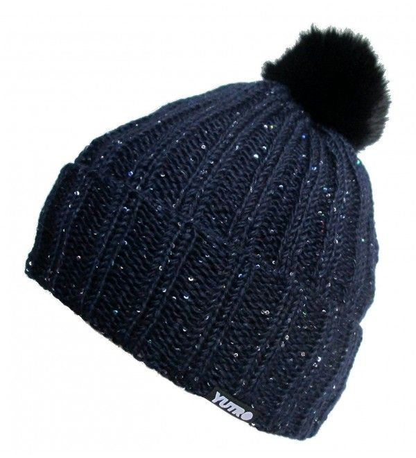 c2d0af8b0 Sequined Beaded Wool Winter Hat with Rabbit Pom Dark Navy Blue ...