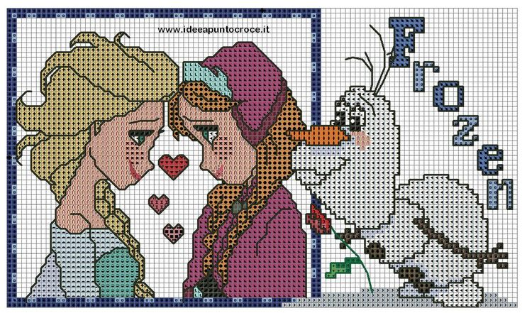 ANNA E ELSA FROZEN PUNTO CROCE by syra1974 on deviantART