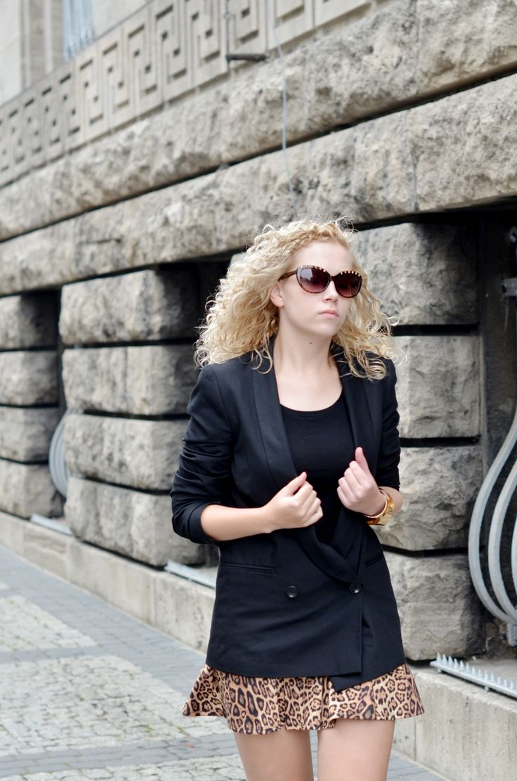 black basic blazer + leopard print skirt