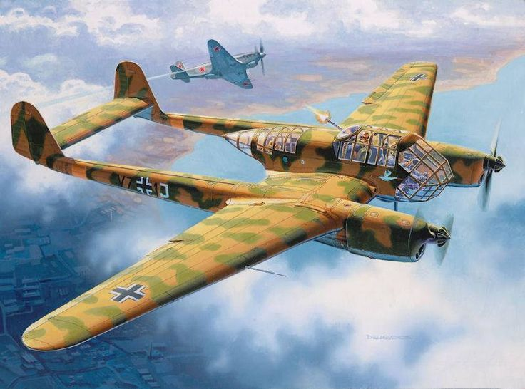 The Luftwaffe's Focke Wulf 189 a-1 (H) was a German reconnaissance aircraft. Fig. Andrzej Deredos.