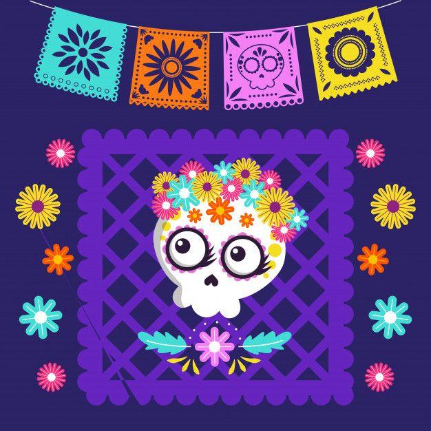 Tarjeta De Dibujos Animados Del Dia De Los Muertos Vector Premium Premium Vector Freepik Ve Dibujo Dia De Muertos Dia De Muertos Actividades Dia De Muertos