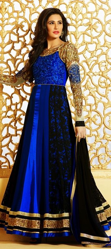 411348, Bollywood Salwar Kameez, Faux Georgette, Satin, Resham, Valvet, Patch, Lace, Blue Color Family