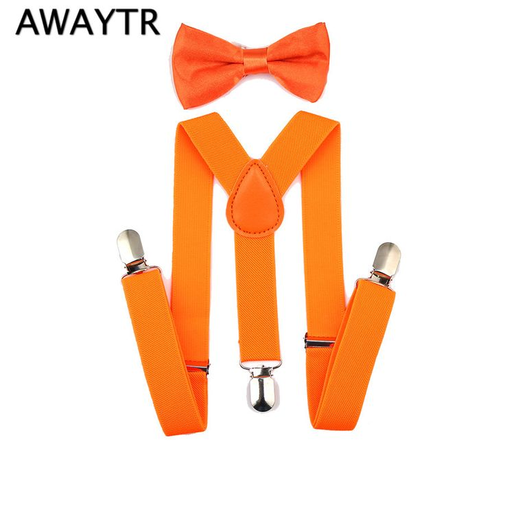 >> Click to Buy << AWAYTR Kids Suspenders Set Boys Girls Yellow Orange Green Color Bow Tie Elastic Suspender Sets for Wedding Party Gift #Affiliate