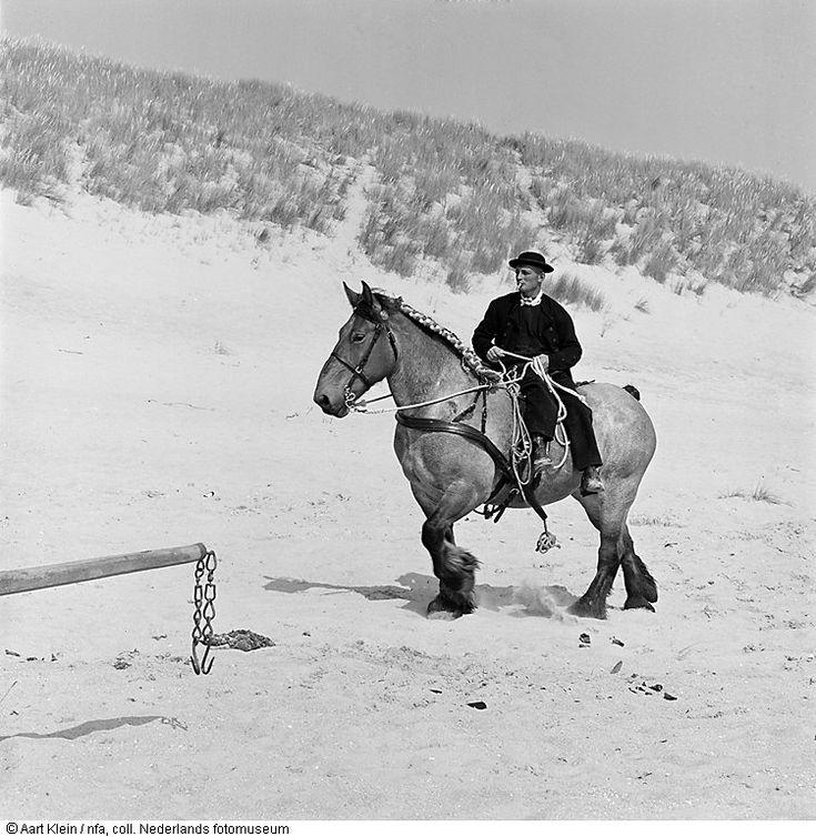 Man in amazonezit rijdt paard op strand (1957-1962)Walcheren