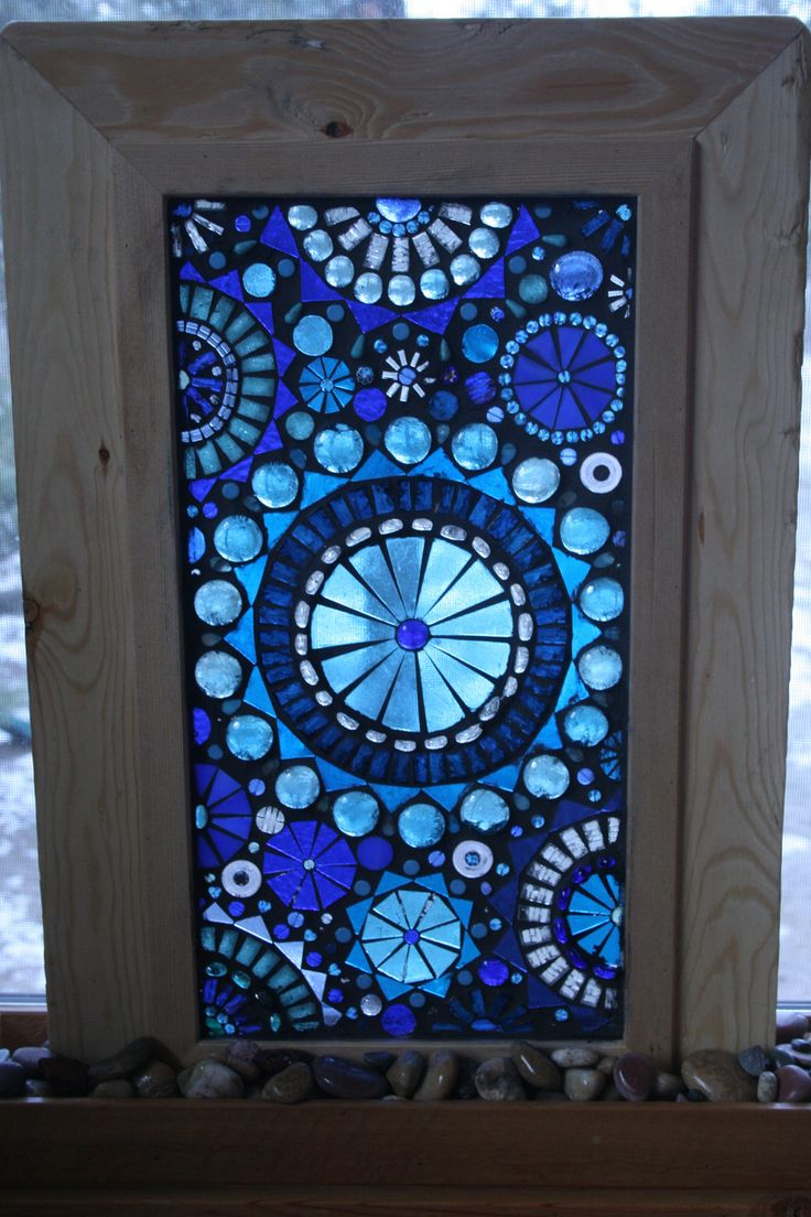 Glass Mosaic Window Panel Abstract Blue circles on self standing Frame.  via Etsy.                                                                                                                                                                                 More
