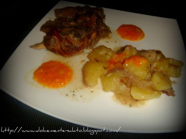 Agnello in umido con patate e crema di verdure