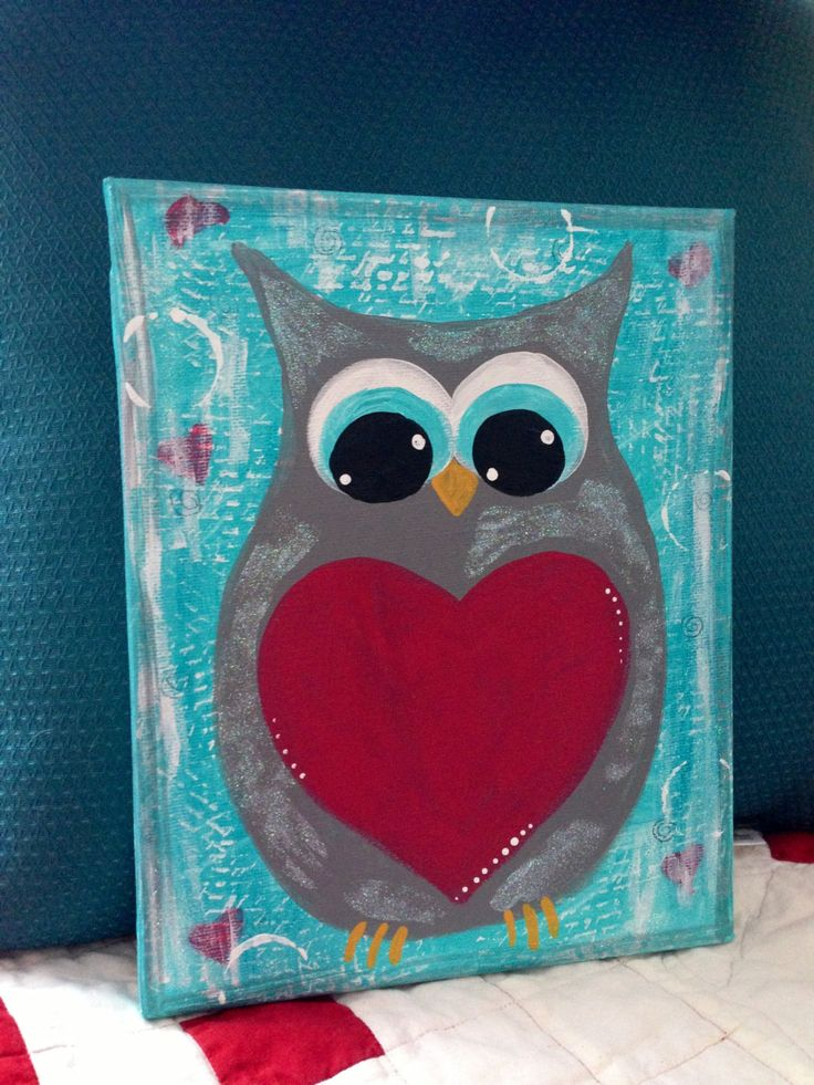 Mixed Media Owl painting on 8 x 10 inch Stretched Canvas Gray Grey Heart Love Valentine Valentines Day Winter. $30.00, via Etsy.