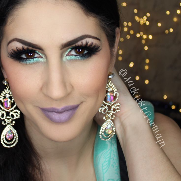Love this makeup look for spring! Aqua eyes and ColourPop Marshmallow on the lips! Follow @JackieStGermain on IG for more! March. Aquamarine.