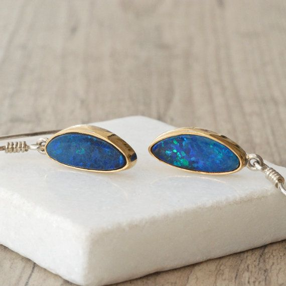 Gold Opal Earrings 22 Karat Gold & Sterling by SunSanJewelry