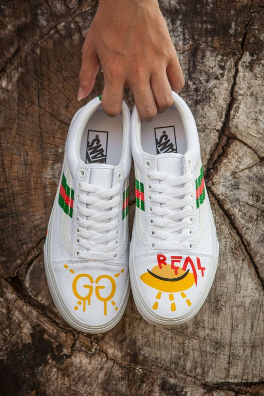 1367ba86c0 van x gucci high - end joint diy hand - painted all white rainbow shoes  36-4414  Vans