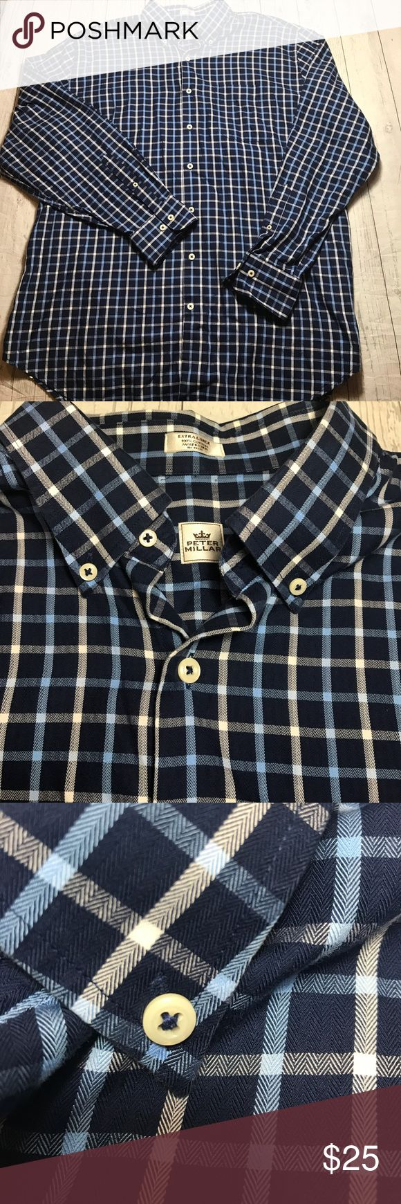 "Peter Millar Shirt Button Front Long Sleeve Blu XL Peter Millar Shirt in very good condition with no stains or flaws.      Chest:  27""  Length:  31""    Thanks for looking!  A Peter Millar Shirts Casual Button Down Shirts"