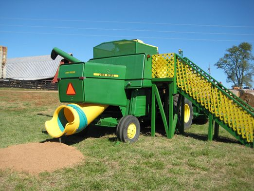 John Deere Tractor Playhouse Plans : Combine slide house outside spaces pinterest
