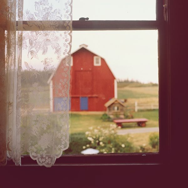 Red Country Barn from behind the window with lace curtains... wow