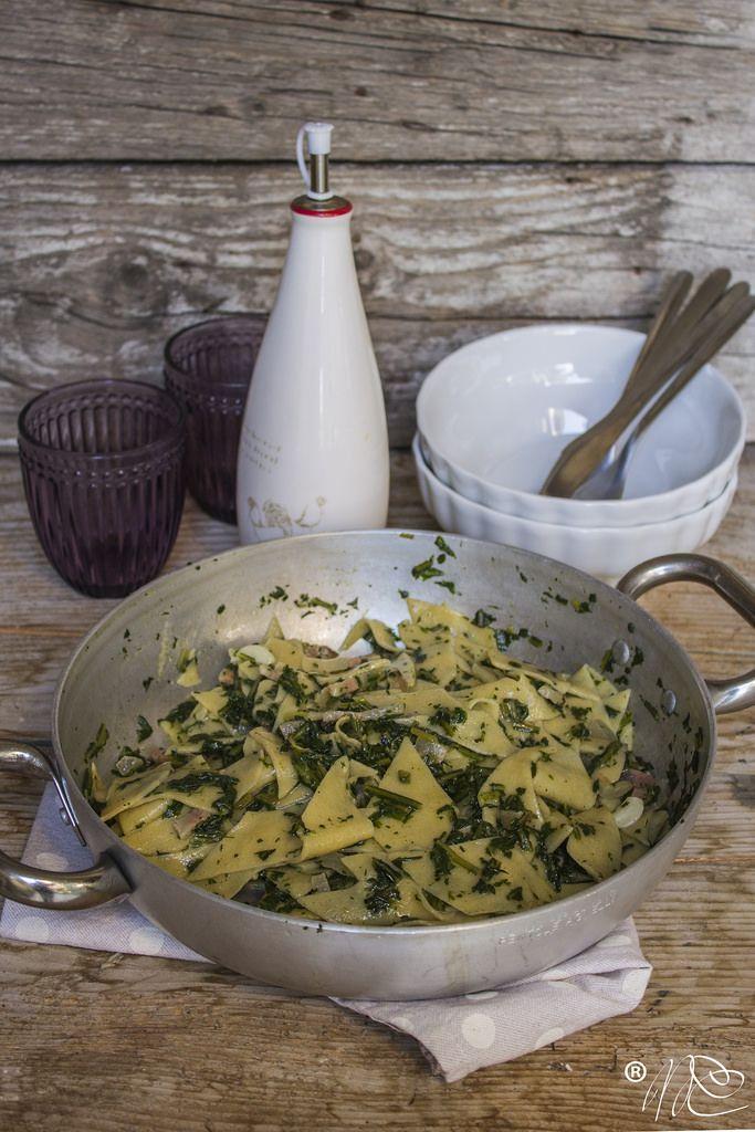 Maltaglia di saragolla con cicoria selvatica e guanciale di Campotosto- ricetta abruzzese