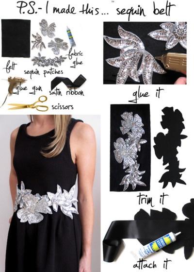 sequin belt DIY