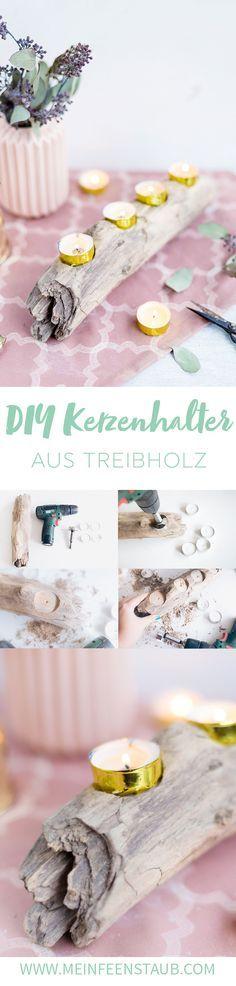 Kreative DIY-Idee für tolle Weihnachtsdeko: Kerzenhalter aus Treibholz einfach selbermachen   Upcycling Idee aus Treibholz für Adventsdeko   Weihnachtsdeko selbermachen