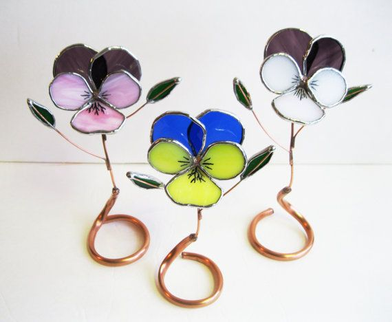 Bunch of Pansies Set of 3 Stained Glass by GlassKissinCreations, $60.00