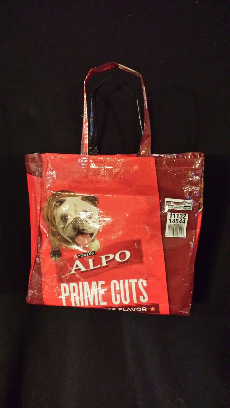Upcycled Alpo dog food bag purse great for groceries by backatthefarm on Etsy