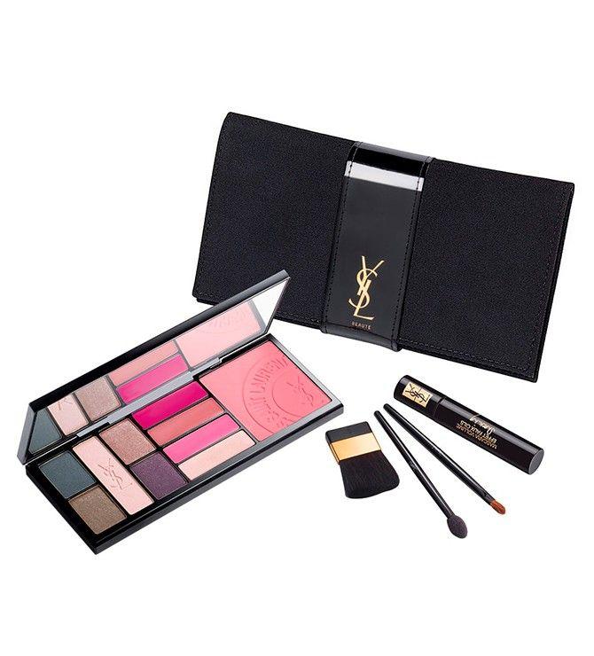 Paletă makeup pentru ochi, buze și pomeți Conține un mini-rimel Mascara Volume Effet Faux Cils, paletă de farduri pentru ochi în 5 nuanțe, paletă de rujuri în 4 nuanțe și un blush. Trusa vine într-un plic negru elegant, cu oglindă și aplicatoare. Brand: Yves Saint Laurent