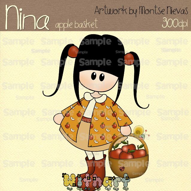 Nina dolls clipart, digital Illustration by Withart for scrapbooking, cardmaking and crafts. Spring, doll, apples, basket. www.etsy.com/shop/withart
