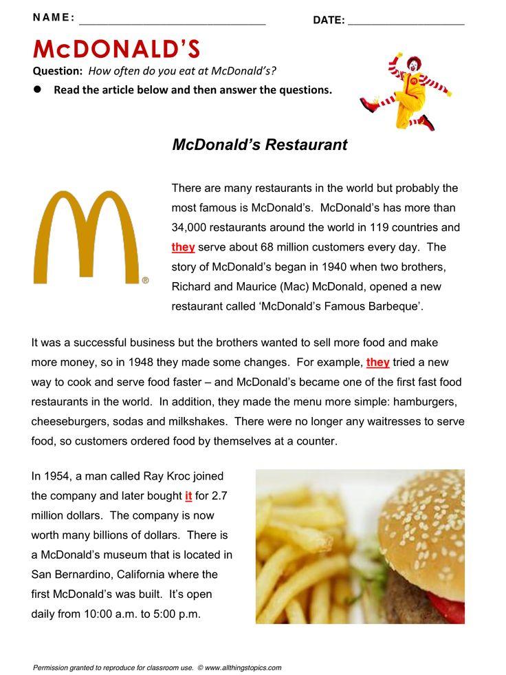 McDonald's, English, Learning English, Vocabulary, ESL, English Phrases, http://www.allthingstopics.com/mcdonalds.html