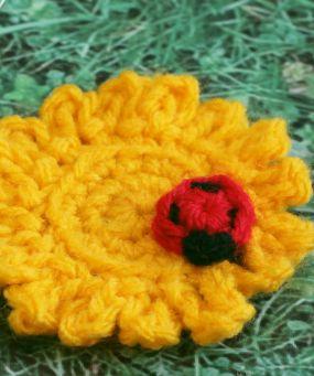 Easy Spring Flower and Ladybug | What better way is there to get excited for the warmer weather than to create a fun garden of crochet flowers?