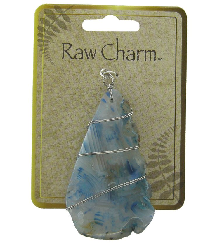 Naturals Raw Charm Silver Wrapped Blue Pendant