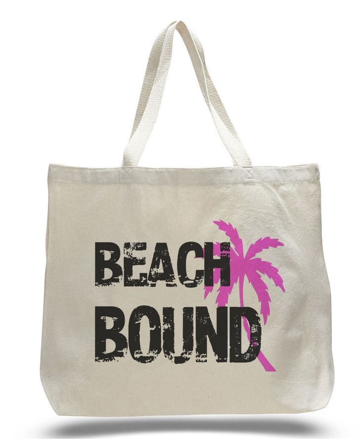 Beach Bound Tote Bag – Trendy Natural Canvas Bag – Funny and Unique – Tote Bag