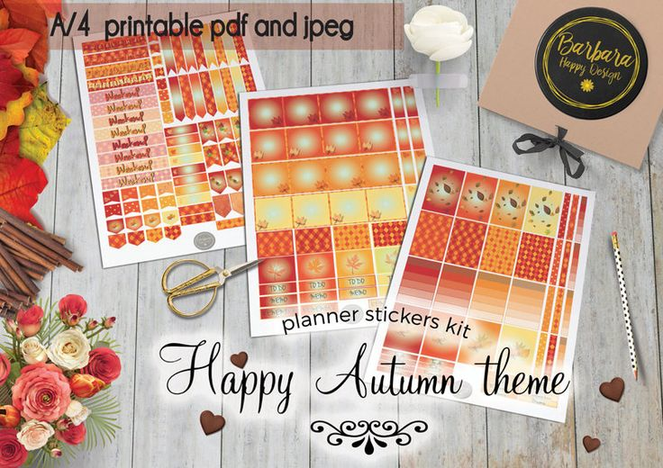 Autumn Stickers Kit - Printable planner stickers - Weekly stickers - Autumn Decorations - Autumn stickers di BarbaraHappyDesign su Etsy