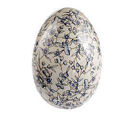 Uovo in porcellana con decoro floreale azzurro - 12x18 cm
