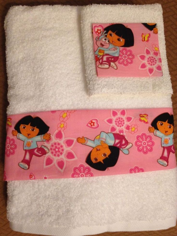 Dora the Explorer Bath Towels Set / Hand Towel, Washcloth New 2 Pieces #Classic