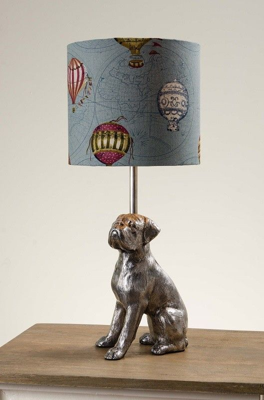 For all the dog lovers out there, this is a lamp for you! An unusual antique silver table lamp with a proud looking Boxer dog, sitting on a firm base. The lamp is supplied without shade or can be bought with selected bespoke shades.