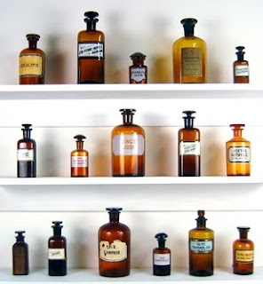 Apothecary Jars - nice and frugal decoration. In master bath along top of wall above bath mirror OR above toilet closet door?