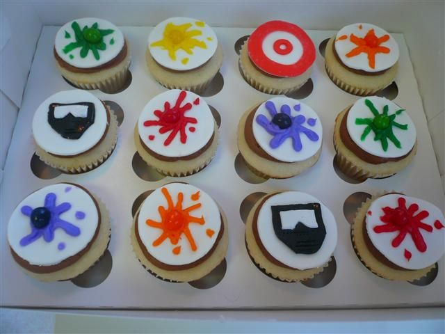 paintball cupcakes. i will make these for my brother, because i love him.
