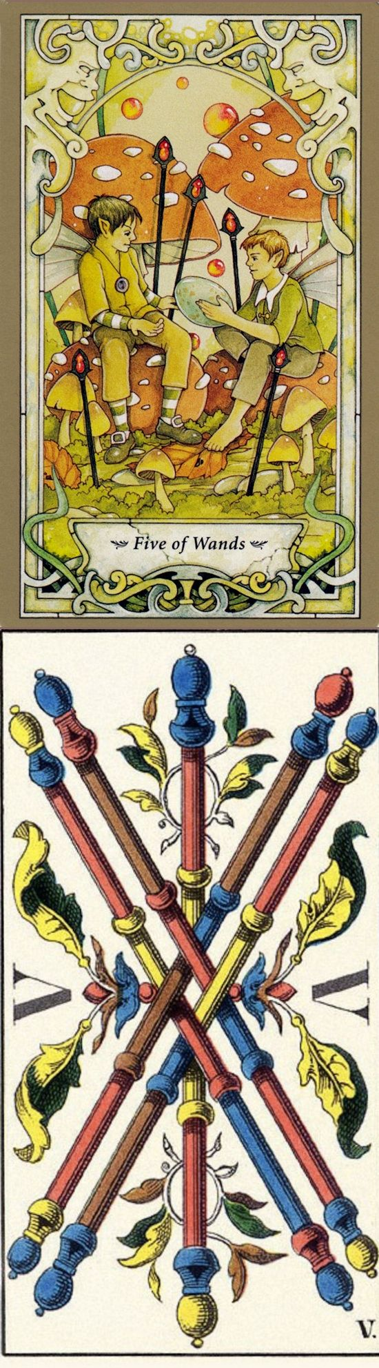 Five of Wands: competition and avoiding a potentially beneficial conflict (reverse). Mystic Faerie Tarot deck and JJ Swiss Tarot deck: online tarot reading generator, tarot prediction vs free one card tarot. Best 2018 lenormand meanings and witch aesthetic.