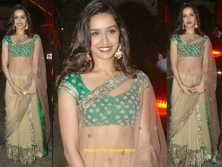Shraddha Kapoor in attended bachan's diwali bash in cream half saree with silver border paired up with green silver embroided blouse designed by Anamika Khanna