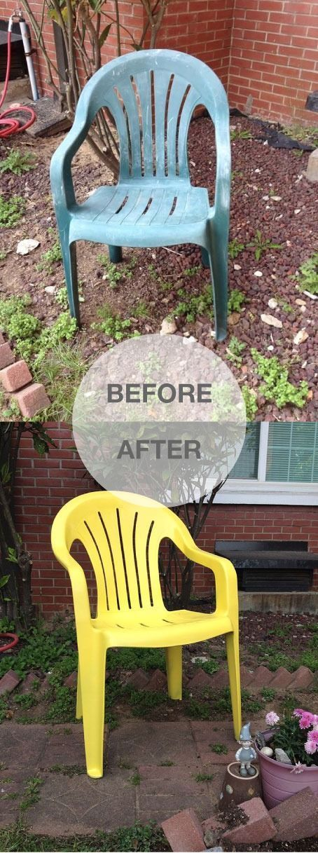 From dumpster to delightful in 6 easy steps! Spray paint weathered old plastic chairs for a quick refresh.