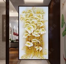 5D сделай сам алмаз живопись кристалл цветок лилии 3D вышивки крестом декоративная рукоделие вышивка полный раунд горный хрусталь(China (Mainland))