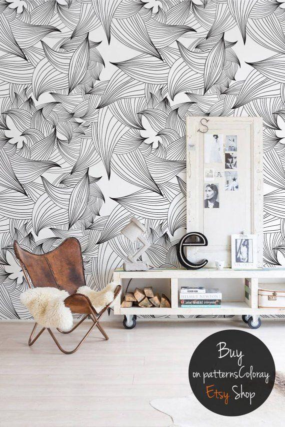 Magician Lines Removable Wallpaper Black White Leaves Etsy Wallpaper Walls Decor Removable Wallpaper Wall Decor