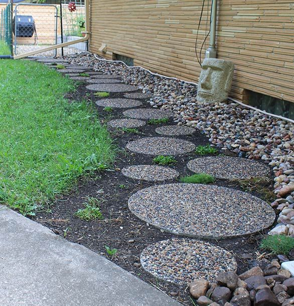 Superb Round Pavers, River Rock, And Tiki. Nice Blog For Retro Styled Homes.