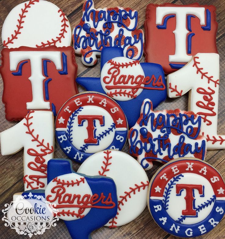 "188 Likes, 11 Comments - Anna Parnell (@cookieoccasions_) on Instagram: ""Texas Rangers Set #sugarcookies #customcookies #decoratedcookies #royalicing #cookieoccasions…"""