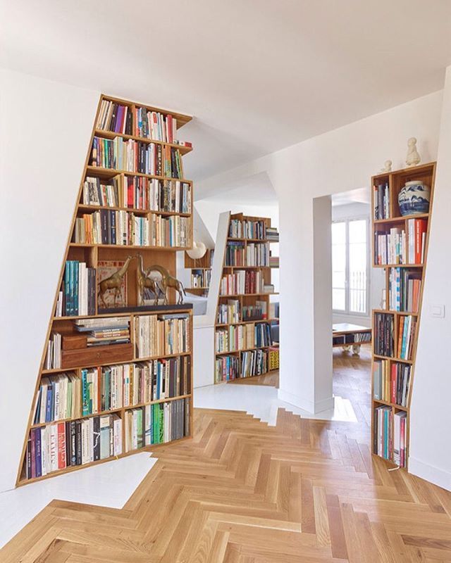 Parisian flat design by h2o Architects! Who loves how the book shelves are integrated into the space! #book #books #read #bookworm #interior125 #industrial #modern #id #moderndesign #contemporary #furniture #interior123 #interiorlovers #instadesigner #interior #interiors #interiordesign #interiordesigner #interiorwarrior #interiorismo #homedecor #interiorstyling #interiores #design #designs #designing #instadesign #designbunker